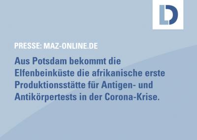 maz-online.de: Potsdamer Labor-Firma eröffnet erste Coronatest-Fabrik in Afrika