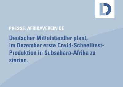 afrikaverein.de: Covid-Schnelltest-Produktion in Subsahara-Afrika