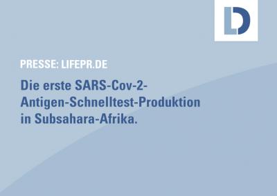 lifepr.de: Deutscher Mittelständler plant, im Dezember erste Covid-Schnelltest-Produktion in Subsahara-Afrika zu starten