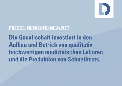 newsonline24.net: Deutscher Mittelständler plant, im Dezember erste Covid-Schnelltest-Produktion in Subsahara-Afrika zu starten